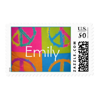 peace sign, personalized stamp