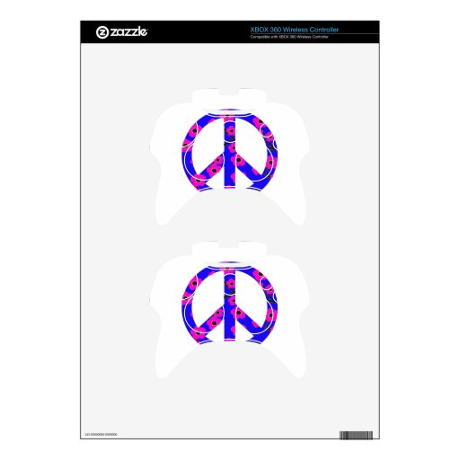 Peace Sign Pink Cherry Blossom Xbox 360 Controller Decal