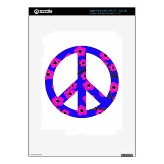 Peace Sign Pink Cherry Blossom Skin For iPad 3