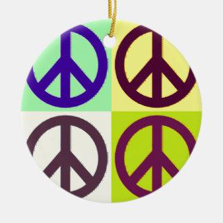 Peace Sign Pop Art Ceramic Ornament