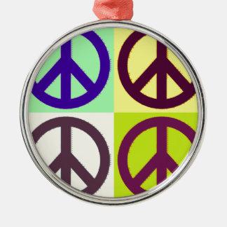 Peace Sign Pop Art Metal Ornament