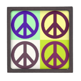 Peace Sign Pop Art Premium Jewelry Boxes