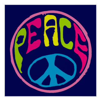 Peace Sign Psychedelic Hippie Style Poster