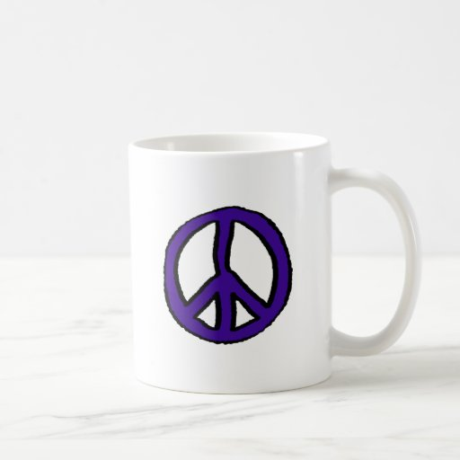 Peace Sign Purple - Coffee Mugs