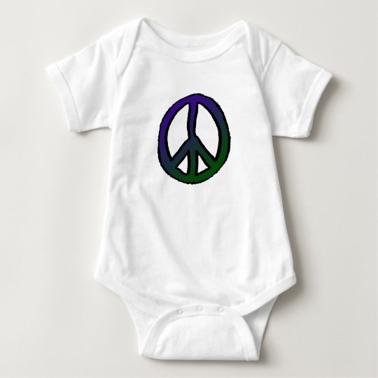 Peace Sign Purple Green Grad Baby Bodysuit