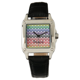 Peace Sign Rainbow Colors with Name Wristwatch