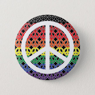Peace Sign Rainbow with Large Peace Sign Pinback Button