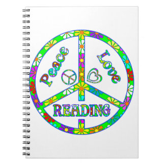 Peace Sign Reading Spiral Note Book