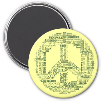 peace sign recycle words green 3 inch round magnet