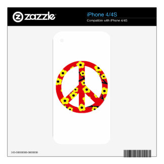 Peace Sign Red Yellow Cherry Blossom Decals For iPhone 4S
