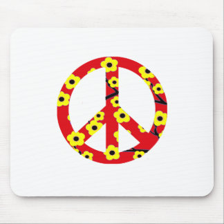 Peace Sign Red Yellow Cherry Blossom Mouse Pad
