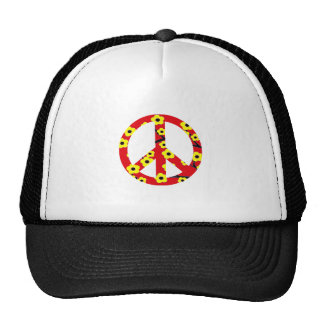 Peace Sign Red Yellow Cherry Blossom Trucker Hat