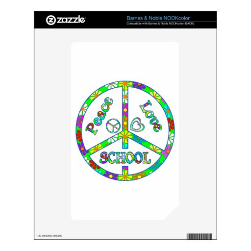 Peace Sign School Skin For NOOK Color