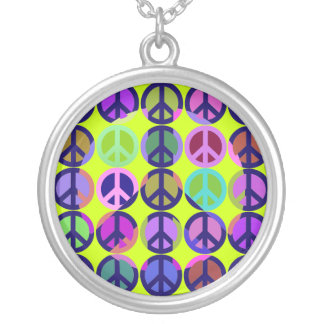 Peace Sign Shadow Art Round Pendant Necklace