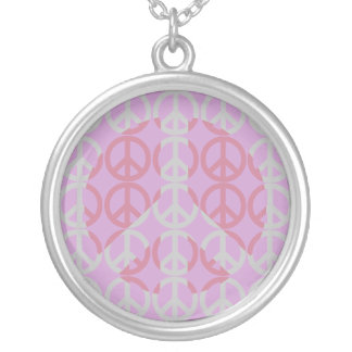 Peace Sign Shadow Art Silver Plated Necklace