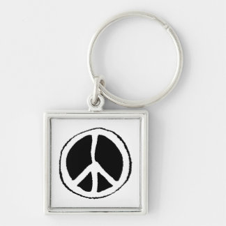 Peace Sign Silver-Colored Square Keychain