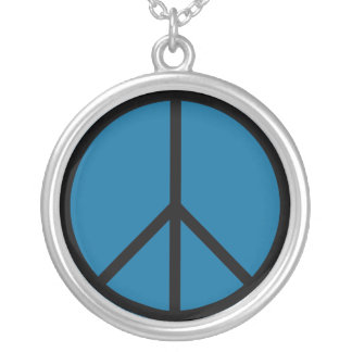 Peace Sign Silver Necklace (Blue)