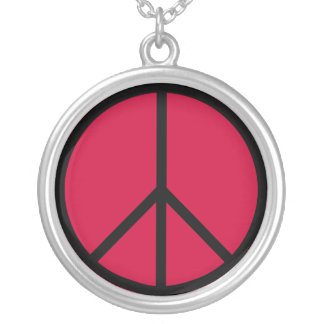 Peace Sign Silver Necklace (Red)