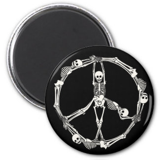Peace Sign Skeletons 2 Inch Round Magnet