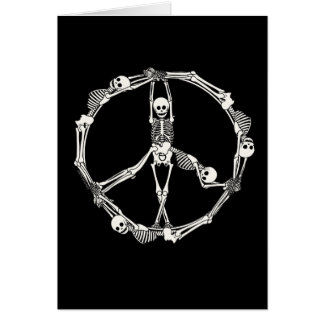 Peace Sign Skeletons Card