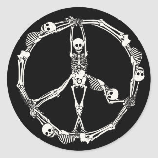 Peace Sign Skeletons Classic Round Sticker