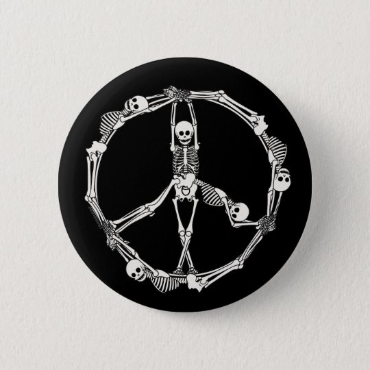 Peace Sign Skeletons Pinback Button