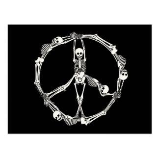 Peace Sign Skeletons Postcard
