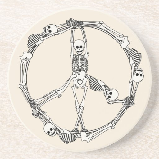 Peace Sign Skeletons Sandstone Coaster