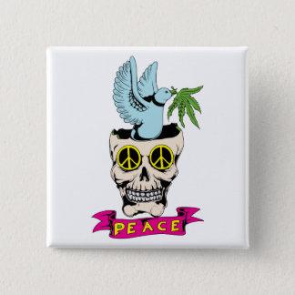 Peace Sign Skull / Dove ~ 60s Hippie Love Button