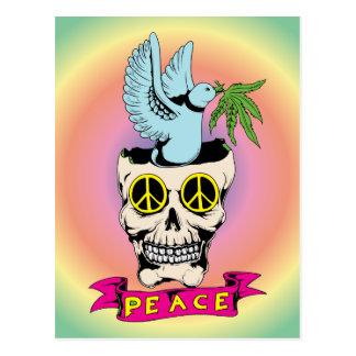 Peace Sign Skull / Dove ~ 60s Hippie Love Postcard