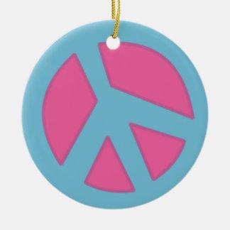 Peace Sign-Smiley Blue Ceramic Ornament