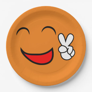 Peace Sign Smiley Face Funny Emoticon Orange Party Paper Plate