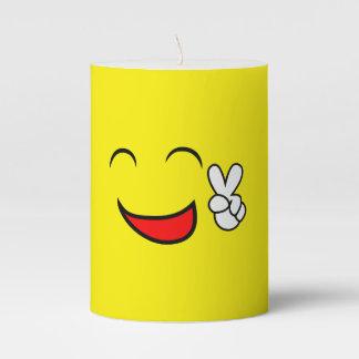 Peace Sign Smiley Face Funny Emoticon Orange Party Pillar Candle