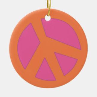 Peace Sign-Smiley Orange Ceramic Ornament