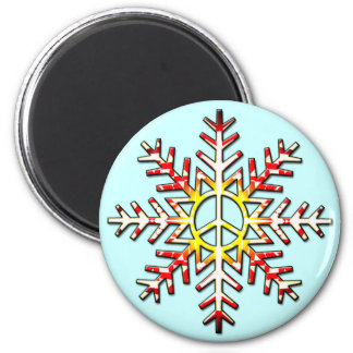 PEACE SIGN SNOWFLAKE 2 INCH ROUND MAGNET