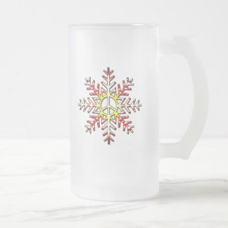 PEACE SIGN SNOWFLAKE FROSTED GLASS BEER MUG