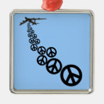 Peace sign square metal christmas ornament