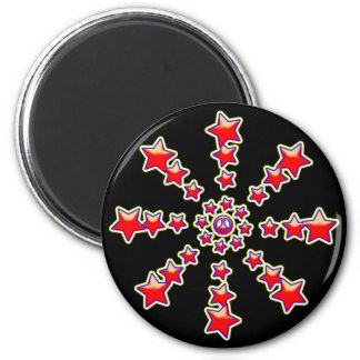 PEACE SIGN STARBURST 2 INCH ROUND MAGNET