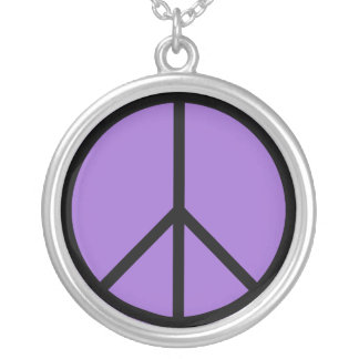 Peace Sign Sterling Silver Necklace (Purple)