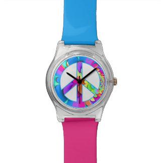 Peace Sign Summer Palette Fractal Wrist Watch