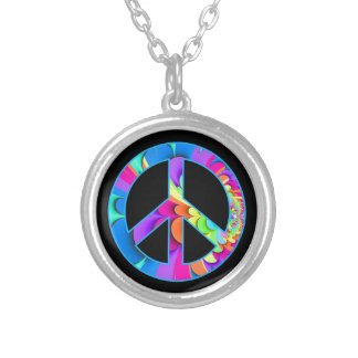Peace Sign Summer Palette on black Silver Plated Necklace