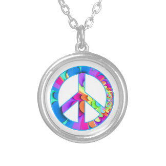 Peace Sign Summer Palette Silver Plated Necklace