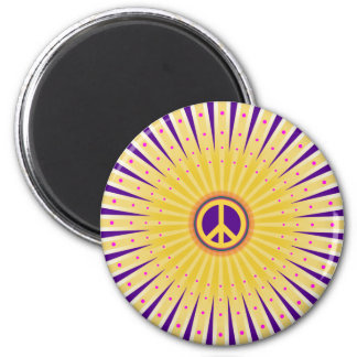 PEACE SIGN SUN BURST 2 INCH ROUND MAGNET