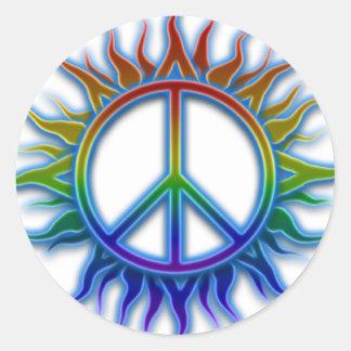 """Peace Sign Sun"" Rainbow colored peace sign symbol Classic Round Sticker"