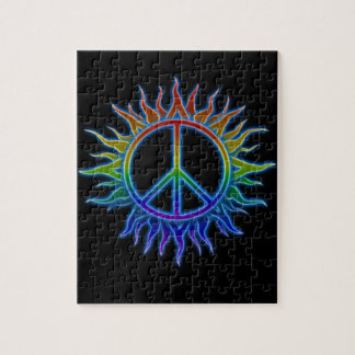 """Peace Sign Sun"" Rainbow colored peace sign symbol Jigsaw Puzzle"