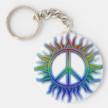 """Peace Sign Sun"" Rainbow colored peace sign symbol Basic Round Button Keychain"