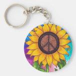 Peace Sign Sunflower # 2 Basic Round Button Keychain