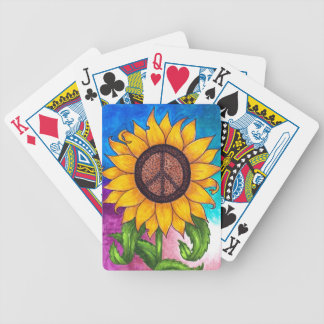 Peace Sign Sunflower # 2 Bicycle Playing Cards