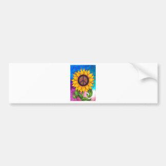 Peace Sign Sunflower Stationary Bumper Sticker