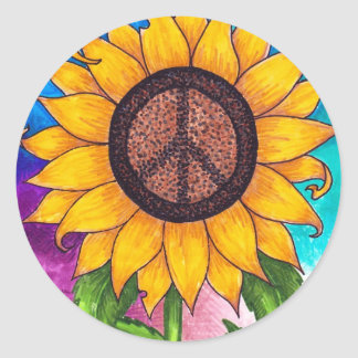 Peace Sign Sunflower Stationary Classic Round Sticker